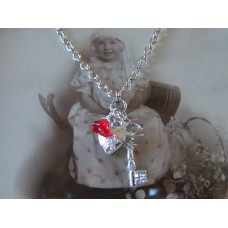 Secret Key Heart Locket Bird Flower Red necklace