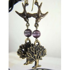 Happy Landings! Birds and Tree Earrings