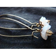 Vintage style opal blossoms earrings with long loops