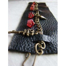 Leather, Chain, Red Flowers - Cuff