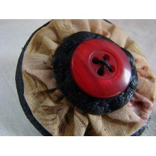 Vintage button, flower fabric, recycled leather, Brooch Pin