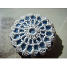 Recycled button and vintage crochet doily brooch, blue and white