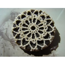 Recycled button and vintage crochet doily brooch, brown and cream