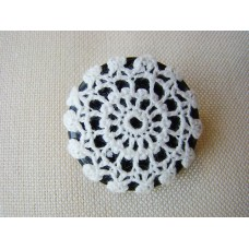 Recycled button and vintage crochet doily brooch, black and white