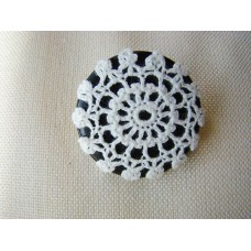 Recycled button and vintage crochet doily brooch, black and creamy white