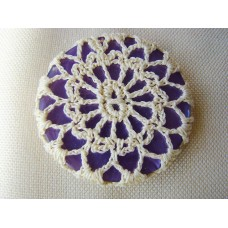 Recycled button and vintage crochet doily brooch, purple and cream