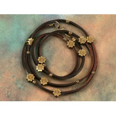 Leather Wrap with Bronze Flower Beads