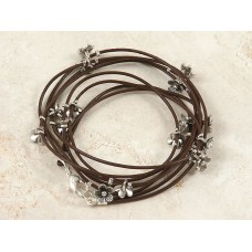 Dark brown Leather wrap around bracelet with flower charms