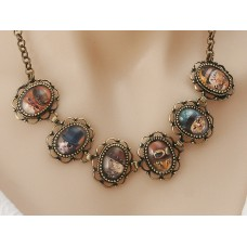 Steampunk Cats, 6 cute punky kitties, necklace with antiqued bronze chain