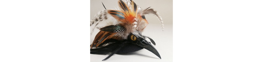 Raven Beak Fascinator Orange
